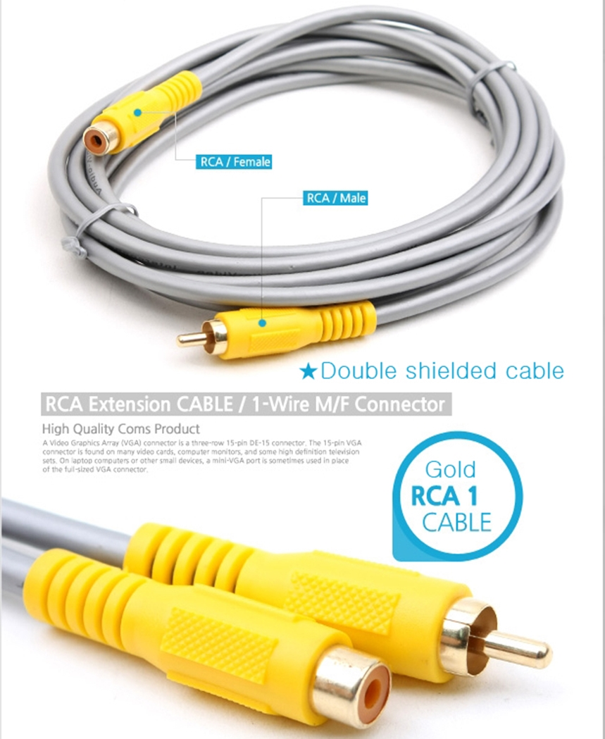 Rca Cable Extenders : Single rca male to female audio video coaxial ofc